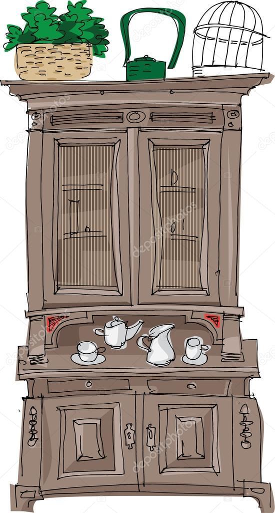Adesivo De Unhas Joias ~ Aparador Vintage dibujos animados u2014 Vector de stock u00a9 iralu1 #32386073