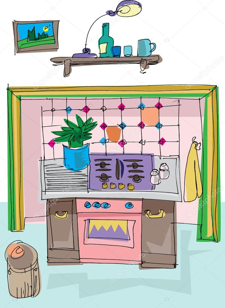 download vintage kitchen cartoon stock illustration 32386091