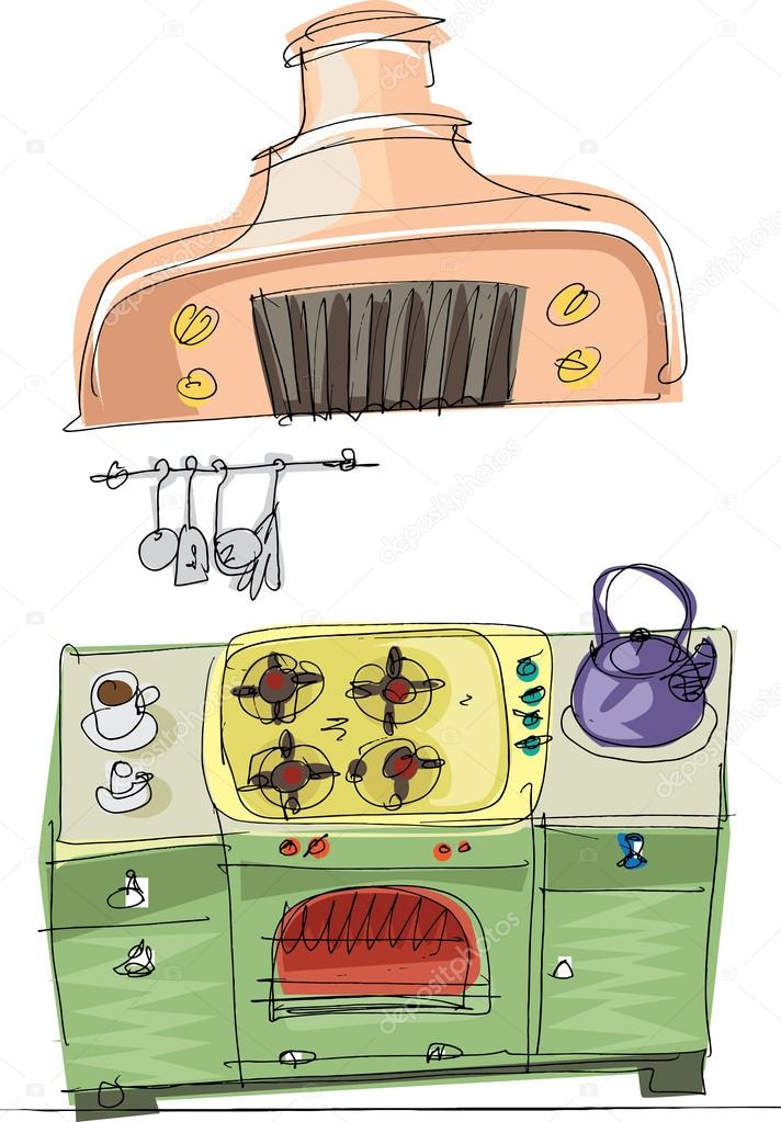 Cocina vintage dibujos animados vector de stock for Dibujos de cocina