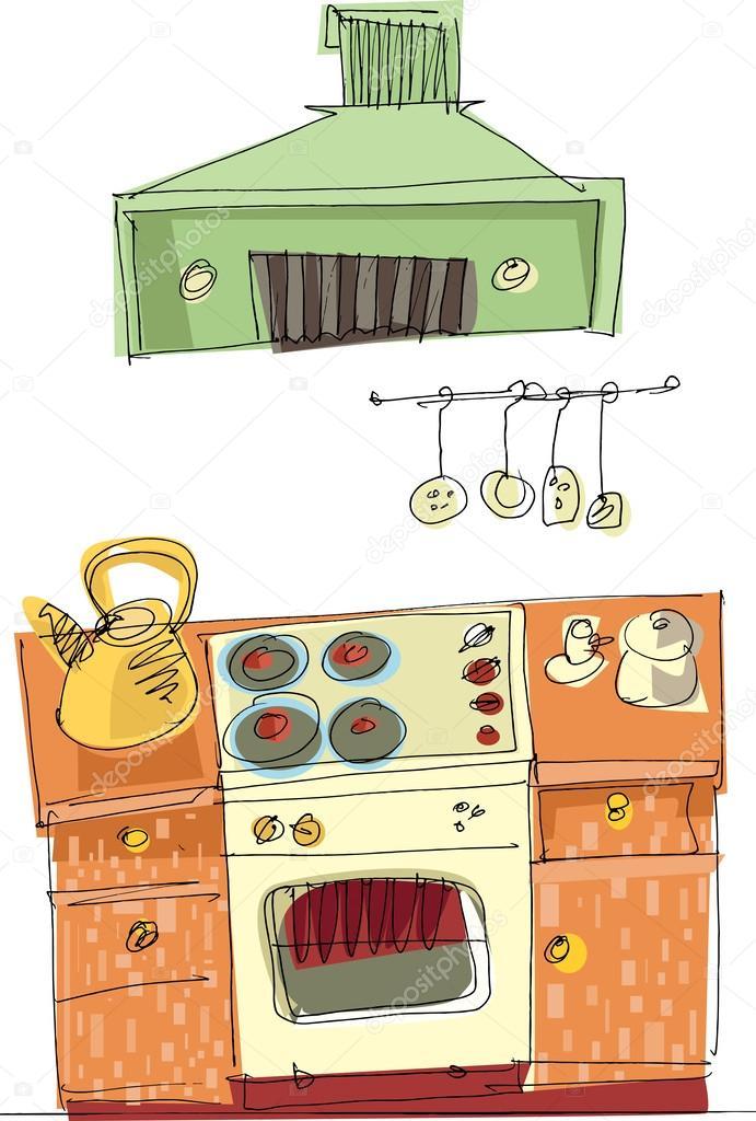 Vintage Küche - Cartoon — Stockvektor © iralu1 #32386111