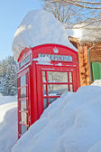 красная телефонная будка — Стоковое фото
