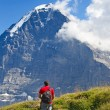 Hiking in alps — Stock Photo