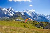 Paragliding ve švýcarských alpách — Stock fotografie