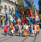 Schweizer nationalfeiertag-parade in zürich — Stockfoto