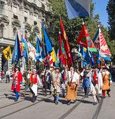 švýcarský národní den parade v zurichu — Stock fotografie
