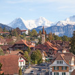 Historical village in swiss alps — Stock Photo