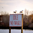 Sign Idle No Wake — Stock Photo