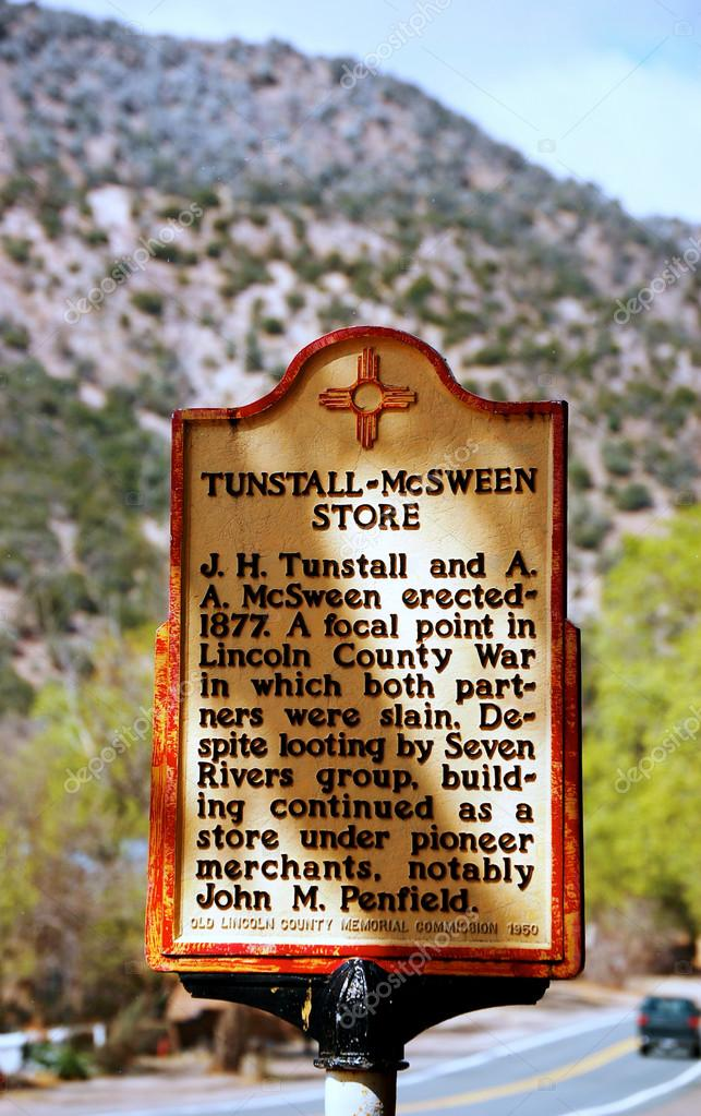 Lincoln New Mexico Historic Marker - Tunstall Store Sign — Stock Photo #12829271