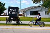 Amish man and Neat Stuff — Stock Photo