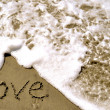 Стоковое фото: Love written in sand with wave 4-1