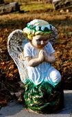 Gravesite - anděl - modré oči — Stock fotografie