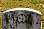 Cemetery Headstone with cross — Stock Photo