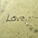 láska v písku — Stock fotografie