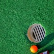 Stock Photo: Mini golf and green background