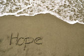Hope in the sand — Foto Stock