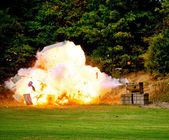 Civil War Re-enactment - explosion — Stock Photo