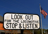 Look out for the Locomotive Sign 2 — Stock Photo