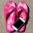 In the Sand - Flip-Flops iPod iPhone — Stock Photo