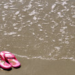 In the Sand - Flip-Flops — Stock Photo