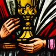 Holding a Chalice - Stained Glass — Stock Photo