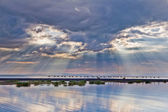 Landscape sea sunset, lake Alakol, Central Asia — Stock Photo