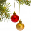 Christmas tree with red balls - Stock Photo