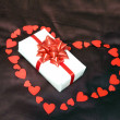 Valentines heart and gift box - Stock Photo