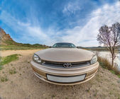 Car auto fish-eye nature — Stock Photo