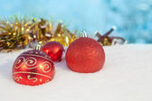 Christmas ball on snow decor — Stok fotoğraf