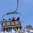 Royalty-Free Stock Photo: Skiers on the cable car