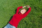 Women relaxation grass — Stock Photo