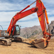 Excavator mountain  construction — Stock Photo
