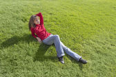 Women relaxation on grass — Stock Photo
