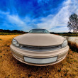 Car fish-eye on nature — Stock Photo