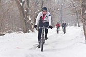 Winter cycling bicycle — Stock Photo
