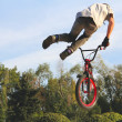 Teenagers on bicycles BMX spin — Stock Photo #41835467