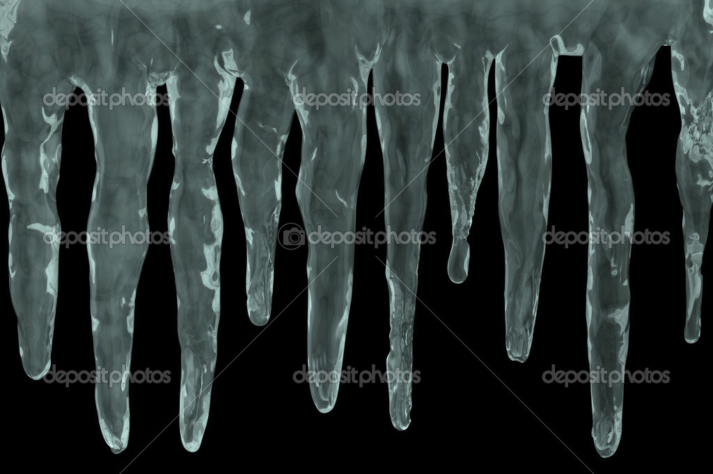 Icicles on black background - 3d illustration  Stock Photo #12803772