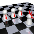 Play figures - punk and businessmen on chess board - 3d illustration — Stock Photo #13297141