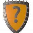 Shield with question mark — Stock Photo