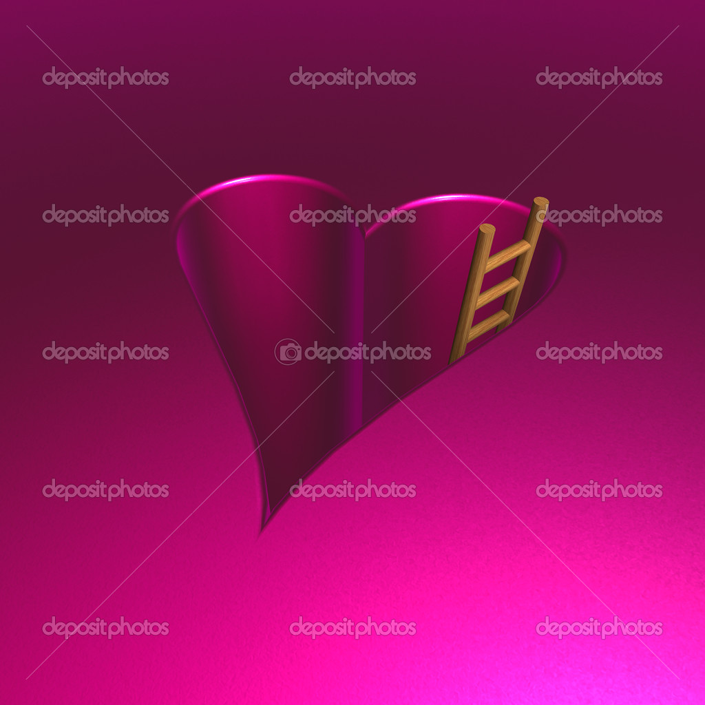 Heart-shaped hole and ladder - 3d illustration  Stock Photo #20210015