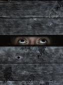 anxious eyes behind old wooden planks wound — Stock Photo