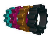 Cmyk gear wheels — Foto de Stock
