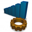 Business graph and cogwheel - Stock Photo