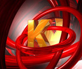 Letter k in abstract space — Stock Photo