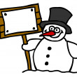 Snowman and blank sign — Stock Vector