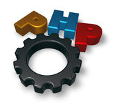 Php tag and cogwheel — Stock Photo