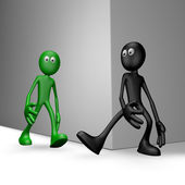 black guy tries get green guy to stumble - 3d illustration — Stock Photo