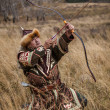 Kazakh, hungarian warrior whith bow. Hunter. — Stock Photo