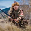 Kazakh, hungarian warrior whith bow. Hunter. — Stock Photo #35507337