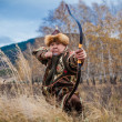 Stock Photo: Kazakh, hungariwarrior whith bow. Hunter.